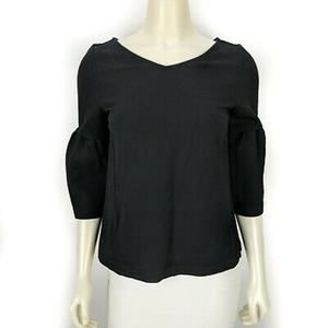 Ann Taylor Lantern Sleeve Double V Blouse Small